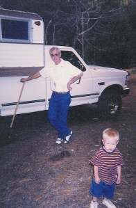 Dad working at the cabin with Wyatt