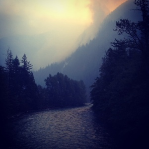 East from Newhalem bridge ... Goodell Fire